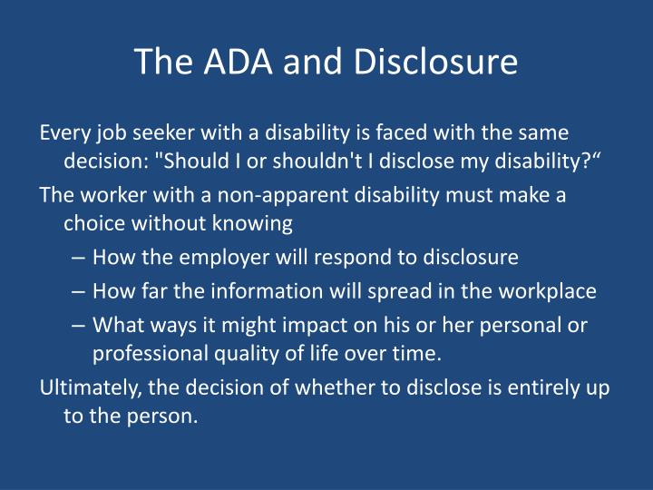 The ADA and Disclosure