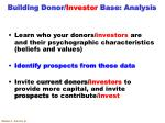 building donor investor base analysis