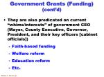 government grants funding cont d