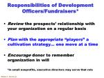 responsibilities of development officers fundraisers