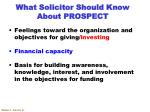 what solicitor should know about prospect