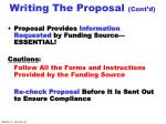 writing the proposal cont d