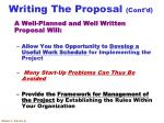 writing the proposal cont d3