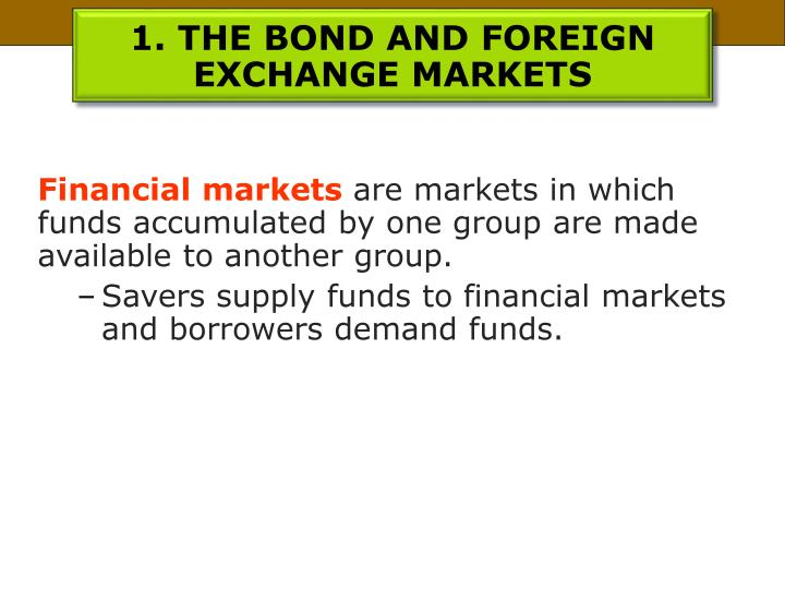 1. THE BOND AND FOREIGN EXCHANGE MARKETS
