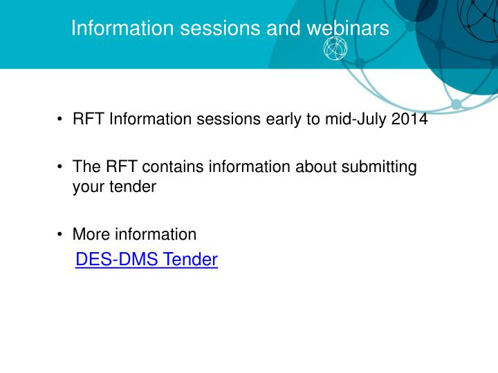 Information sessions and webinars