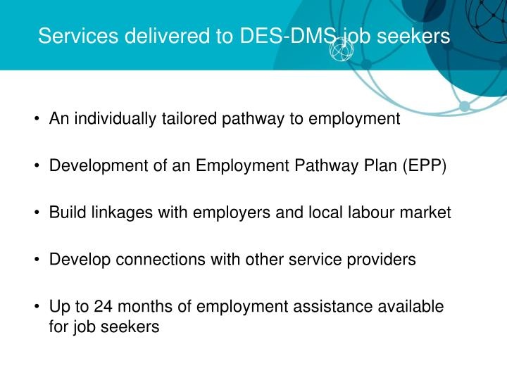 Services delivered to DES-DMS job seekers