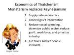 economics of thatcherism monatarism replaces keynesianism