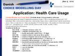 application health care usage
