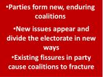 parties form new enduring coalitions