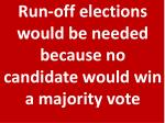 run off elections would be needed because no candidate would win a majority vote