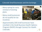 colorado small businesses and the exchange