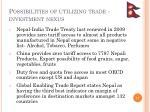 possibilities of utilizing trade investment nexus