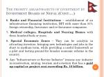 the priority areas projects of investment by investment board of nepal cont