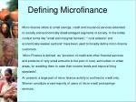 defining microfinance