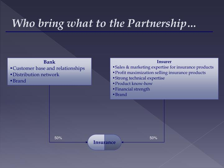 Who bring what to the Partnership…