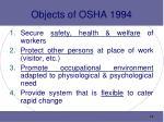 objects of osha 1994