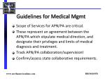 guidelines for medical mgmt