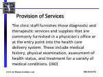 provision of services