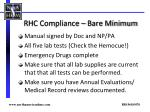 rhc compliance bare minimum