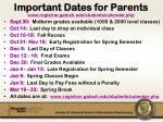 important dates for parents