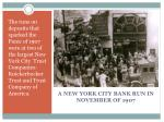 a new york city bank run in november of 1907