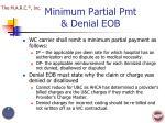 minimum partial pmt denial eob