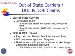 out of state carriers dol doe claims