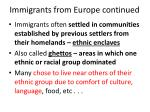 immigrants from europe continued