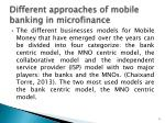 different approaches of mobile banking in microfinance