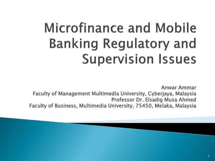 microfinance and mobile banking regulatory and supervision issues n.