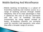 mobile banking and microfinance