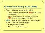 a monetary policy rule mpr