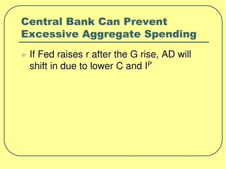 Central Bank Can Prevent Excessive Aggregate Spending