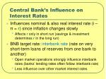 central bank s influence on interest rates
