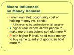 macro influences on money demand