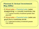 planned actual investment may differ