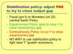 stabilization policy adjust pae to try to close output gap