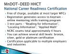 mndot deed hhct national career readiness certification