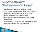 mndot deed hhct what happens after i apply