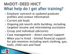 mndot deed hhct what help do i get after training