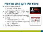 promote employee well being