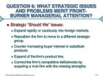 question 6 what strategic issues and problems merit front burner managerial attention1