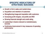specific indicators of strategic success