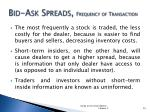 bid ask spreads frequency of transaction