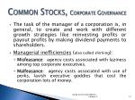 common stocks corporate governance