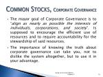 common stocks corporate governance1