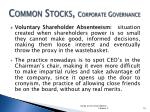 common stocks corporate governance4