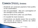 common stocks dividends