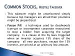 common stocks hostile takeover