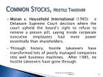 common stocks hostile takeover1